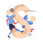 Woman training with football ball in front of large letter S. Soccer concept illustration good for female teams.