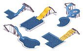 Isometric set of water slides with pools. For hotels, water parks, villas and aqua water parks. 3d collection