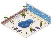 Vector isometric concept illustration with hotel outdoor pool, showers, tanning loungers and waterfall.