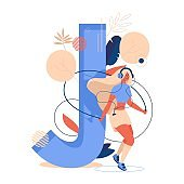 Woman jumps with jumping rope in front of large letter J decorated with leaves and geometric shapes. Sport concept illustration about healthy lifestyle in blue and vibrant orange colors