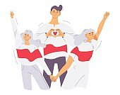 Belarus protest people in white and red flag colors. Concept characters illustration