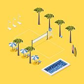 Scene with beach volleyball net, palms, chairs and pool, outdoor showers on yellow background. Vector concept illustration.
