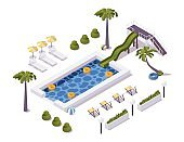 Isometric pool scene with palm trees, water slide, deck chairs. For hotels, cottages, water and aqua park.