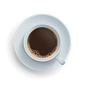 Top view of espresso drink in cup