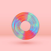 Flat music vinyl record retro style color hologram gradient. Object 3d Isolated on white background. vector illustration