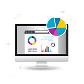 Vector illustration of file storage technology,Statistics Data and Analytics Software Laptop Application