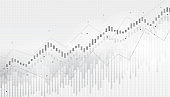 Abstract financial chart with uptrend line graph in stock market on black and white background.growing income, schedule,economy.vector