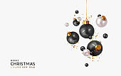 Xmas Realistic balls bauble hanging on ribbon. Merry Christmas and Happy New Year. Background with festive 3d black and white balls. Falling Tinsel glitter gold confetti. vector illustration