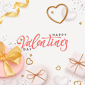 Happy Valentines Day. Romantic background design with realistic white gifts box in the shape of heart. Bright shiny confetti, metal golden heart. Holiday poster, banner, greeting card