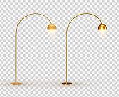 Street lights. Set Golden lantern. lamps Realistic metallic color. Set Object isolated. Vector illustration