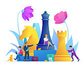 Business strategy concept. Successful teamwork page concept with chess piece.