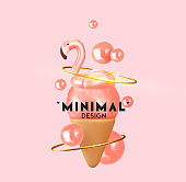 Abstract summer background with 3d pink ice cream and pink flamingo. Summer design modern style minimal poster, banner. Vector illustration