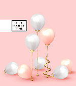 Festive background with helium balloons. Celebrate a birthday, Poster, banner happy anniversary.