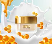 Cream with milk splashes and honeycomb.Background Concept Skin Care Cosmetic.Container mockup, cosmetic bottle package,bank,3d leaves whirl in the air.Bright Background.Vector