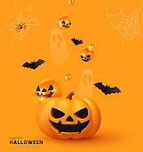 Happy Halloween. Festive background with realistic 3d orange pumpkins with cut scary smile, golden spider web and flying bats. Holiday poster, flyer, brochure and template cover. Vector illustration