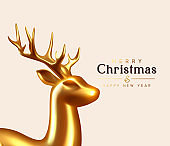 Merry Christmas and Happy New Year. Background with Gold Glass Reindeer. Decorative metallic 3d render deer. Xmas holiday. Greeting card, banner, festive poster