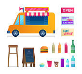 Food truck trade isolated icons set.