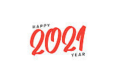 Happy new year 2021 red color text. greeting card. vector illustration