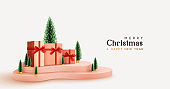 Christmas gifts on delivery podium realistic 3d objects. Xmas decorative composition. Gift card, holiday banner, poster, cover, flyer, bright brochure. Holiday winter design. New Year gifts surprise