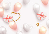 Holiday Romantic background, wedding, Valentines Day, design realistic gifts box with heart shaped, pink and white balloon, Horizontal poster, greeting cards, banner. flat top view.