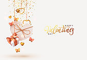 Valentine's Day. Background with realistic festive gifts box. Romantic present. white boxes with beige ribbon gift surprise, Golden 3d hearts, glitter gold confetti. Decorative flying pink butterflies