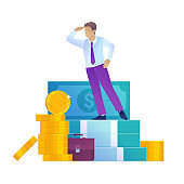 Investment cartoon illustration. Young men standing on banknotes and coins.