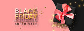 Black Friday Sale. Realistic gift box with festive garland lights, shiny golden confetti. Poster, banner for advertising and branding. Cover and brochure. header for website. vector illustration.