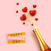 Happy Valentine's Day. Romantic design, realistic bottle champagne wine, explosion with red hearts and glitter gold confetti. holiday gift card, elegant invitation for party. Banner, web poster