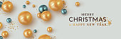 Merry Christmas and Happy New Year. Background Xmas design of realistic balls gold and blue. Horizontal Banner, poster, header for website