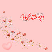 Happy Valentine's Day. Romantic background design with butterflies, pink hearts and glitter confetti. Flying butterfly. Greeting card, banner, web poster. Festive vector illustration.
