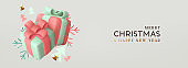 Merry Christmas and Happy New Year. Xmas Background. Holiday gift card.