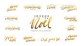 French lettering Joyeux noel, Meilleurs Voeux, Bonne annee. Merry Christmas and Happy New Year, golden Handwritten lettering text calligraphy. vector illustration