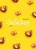 Happy Valentine's Day. Romantic background design with butterflies, gold hearts and glitter confetti. Flying golden butterfly. Greeting card, banner, web poster. Festive vector illustration.