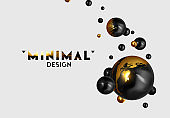 Abstract background with 3d spheres. Realistic group balls of black and gold color. modern minimal design with levitation balls. Glossy bubbles. Trendy banner or poster, cover. Vector illustration