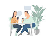 Man and woman chatting online on their smartphones. sending messages. Flat cartoon vector .friends or colleagues talking in a cafe.Concept of social network communication.