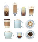 Realistic coffee drinks set