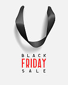 Black Friday Sale. Creative design concept background in form of gift bag. Realistic Shopping Bag with handles, poster, banner for advertising and branding. Black Friday vector illustration.