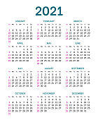 Pocket calendar layout for 2021 year