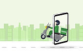 Fast delivery man by scooter in logistic food service