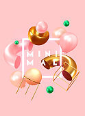 Festive background with helium balloons, 3d geometric objects. Celebrate a birthday, Poster, banner happy anniversary. copy space for text. Vector ballon, pink color. cover, banner and poster template