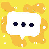 Speech talk bubble on yellow background with dots for text or chat, white cloud for social media vector.