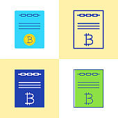 Smart contract icon set in flat and line style