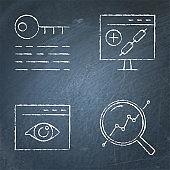 Chalkboard SEO icon set in line style