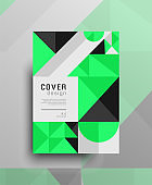 Geometric background cover design with green color triangles and elements, designed in A4 format for annual, report, brochure, flyer etc. Trendy creative pattern or texture design. Eps 10 vector