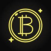 Bitcoin symbol icon in neon line style
