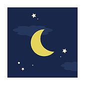illustration of simple night. square shape Icons.