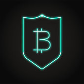 Bitcoin security icon in neon line style