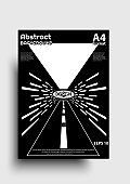 Poster design with different senses, labyrinth, abstract road, space journey etc. Modern 3d poster. Designed in A4 format with black and white colors. EPS 10 vector