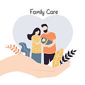 Big hand hold tiny young love couple with newborn baby. Medical or financial assurance,family care banner template.