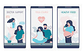 Medical application pages template for pregnant woman. Health care app on smartphone screen